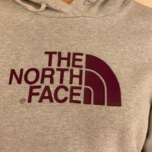 Womens Northface gray and burgundy hoodie
